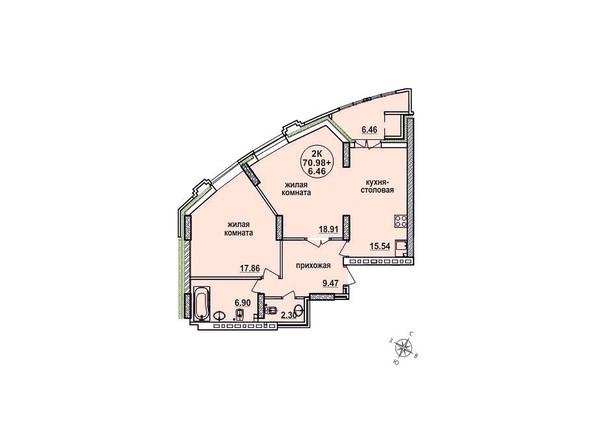 Планировки Жилой комплекс ЗАЕЛЬЦОВСКИЙ, 2 этап - Планировка двухкомнатной квартиры 70,98 кв.м