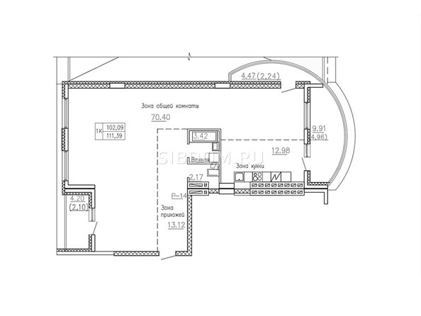 Планировки Жилой комплекс СОБРАНИЕ - Планировка однокомнатной квартиры 111,39 кв.м