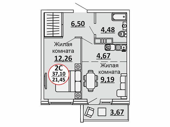 Планировки Жилой комплекс ВЕСЕННИЙ, Заречная 39, дом 2/4 - 2-комнатная 38,94 кв.м