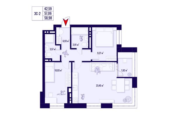 Планировка 3-комн 57,06, 58,98 м²