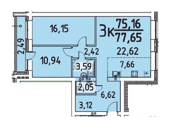 3-комнатная 75.16; 77.65 кв.м