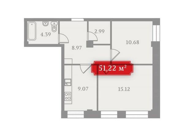 Планировки Жилой комплекс УСПЕНСКИЙ-3, б/с 1  - Планировка двухкомнатной квартиры 51,22 кв.м