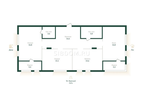 Планировка 3-комн 103 - 104,3 м²