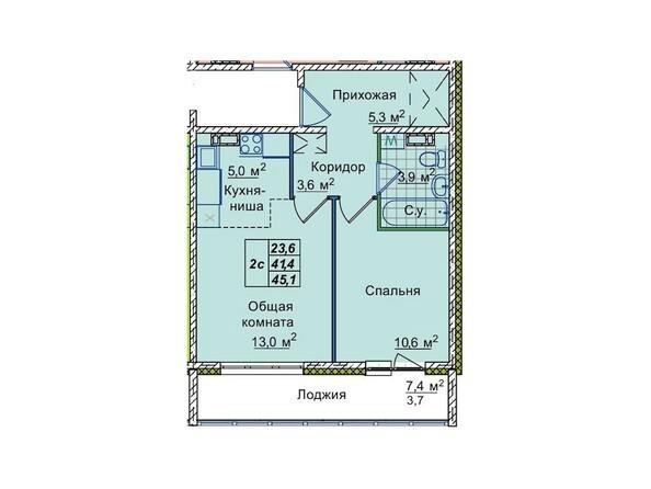 Планировки Жилой комплекс ЮНОСТЬ, дом 1/1 - 2-комнатная 45,1 кв.м