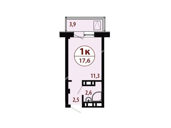Планировки Жилой комплекс СЕРЕБРЯНЫЙ, квр 1, дом 1 - Секция 2. Планировка однокомнатной квартиры 17,6 кв.м