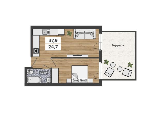 2-комнатная на 1 этаже с террасой