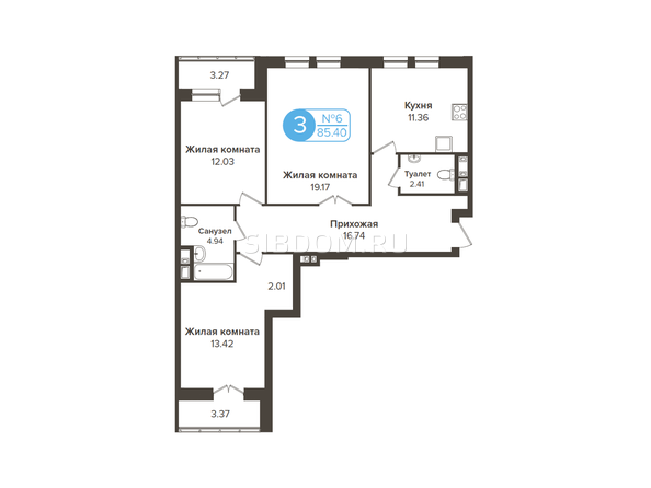 Планировки Жилой комплекс ОГНИ СИБИРИ, дом 2 - 3-комнатная 85,4 кв.м