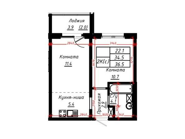 2-комнатная 36,2 кв.м