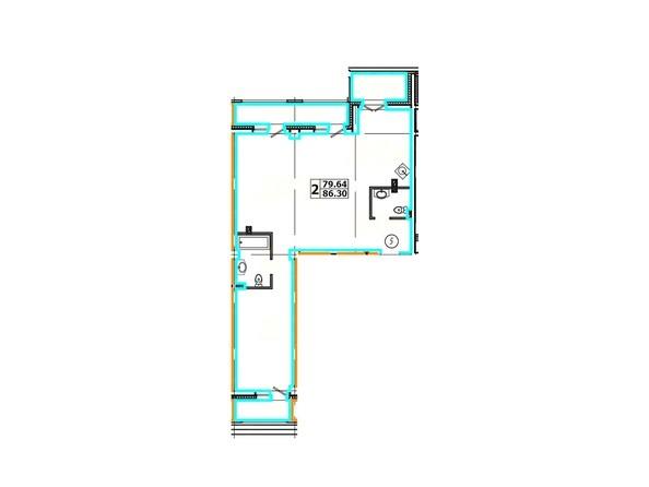Планировка 2-комнатной квартиры 86,30 кв. м