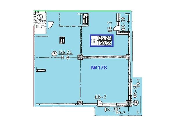Планировки Овражный, дом 2 - Свободная планировка квартиры 130,59  кв.м