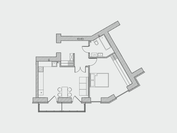 Планировки Жилой комплекс ПРЕОБРАЖЕНСКИЙ, дом 4 - Планировка двухкомнатной квартиры 53 кв.м