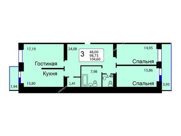 Планировки Жилой комплекс РЯБИНОВЫЙ САД, 3 оч, 2 этап - Б/С - 11. Планировка трехкомнатной квартиры 104,60 кв.м. Этажи 1-9.