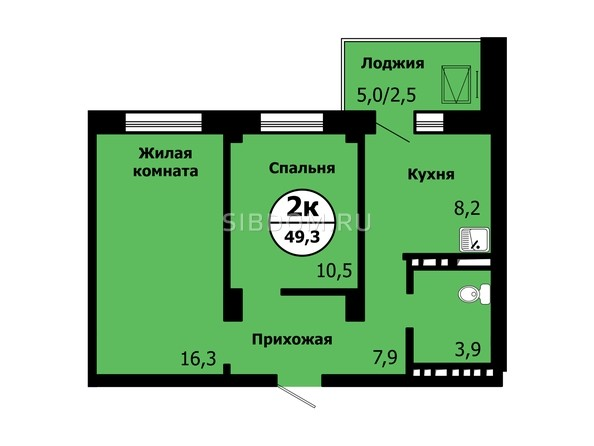 Планировка 2-комн 49 - 49,3 м²