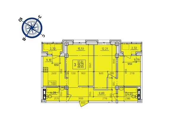 Планировки Жилой комплекс ИРКУТСКИЙ ДВОРИК-2, дом 3 (4,5,6,10 б/с) - Планировка трехкомнатной квартиры 69,43 кв.м