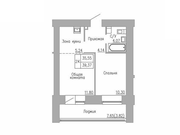 2-комнатная 35.55; 39.37 кв.м