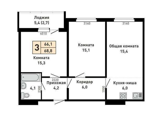 Планировка 3-комн 68,8 м²