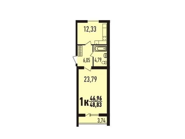 1-комнатная 48.75 - 49.75 кв.м