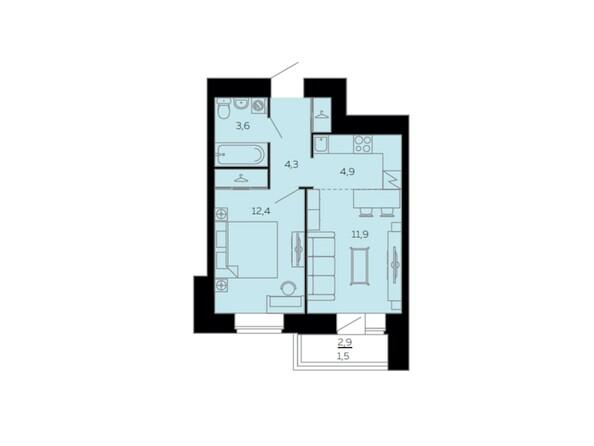Планировки Жилой комплекс МАРС, дом 10 - Планировка двухкомнатной квартиры 38,6 кв.м