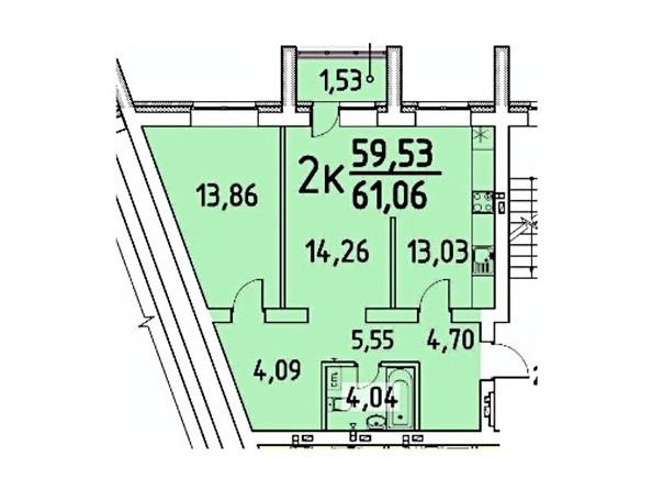 2-комнатная 59.53; 61.06 кв.м