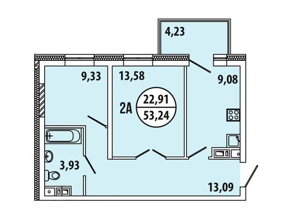 Планировка 2-комн 53,24 м²