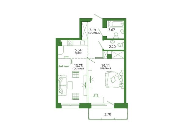2-комнатная 55,47 кв.м