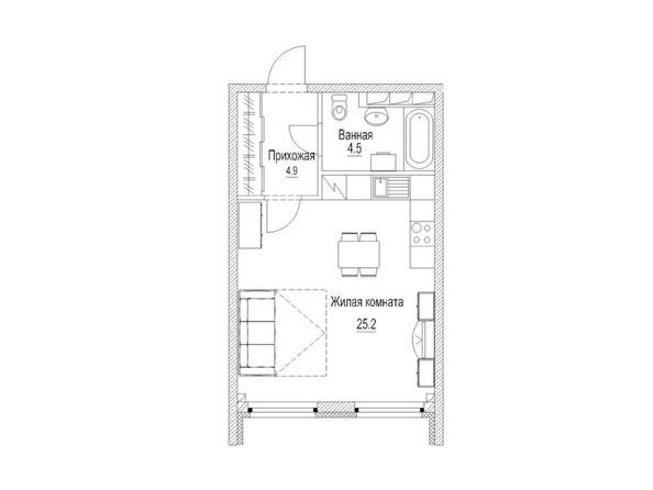 Планировка Студия 36, 36,1 м²