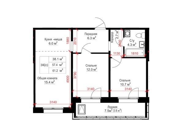Планировки Жилой комплекс КРЫЛЬЯ, дом 14 - Планировка трёхкомнатной квартиры 61,2 кв.м.