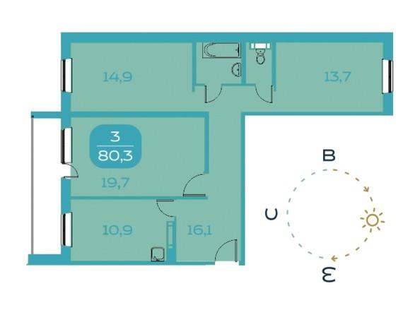 3-комнатная 80,3 кв.м