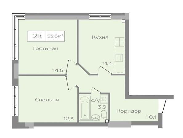 2-комнатная 53 кв.м