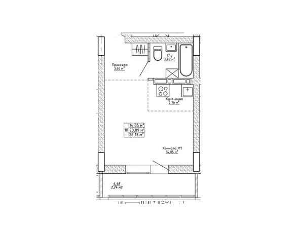 Планировки Ленина, 123 - Планировка однокомнатной квартиры 26,13 кв.м