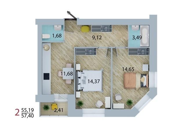 Планировка 2-комн 56,79 - 57,4 м²