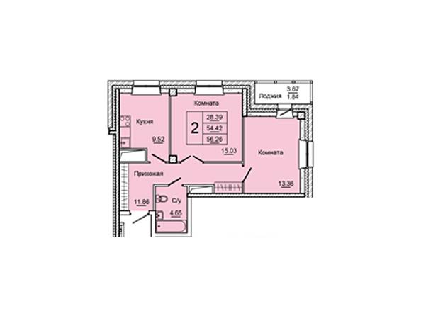 Планировки Жилой комплекс НА ДУДИНСКОЙ, дом 2  - Планировка двухкомнатной квартиры 56,26 кв.м