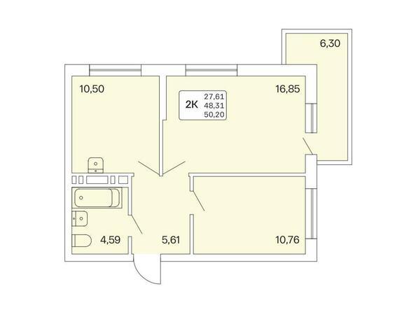 2-комнатная 50,2 кв.м