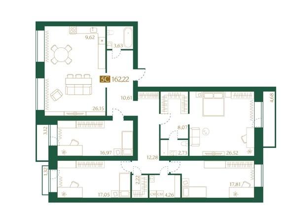 Планировка 5-комн 162,22 м²