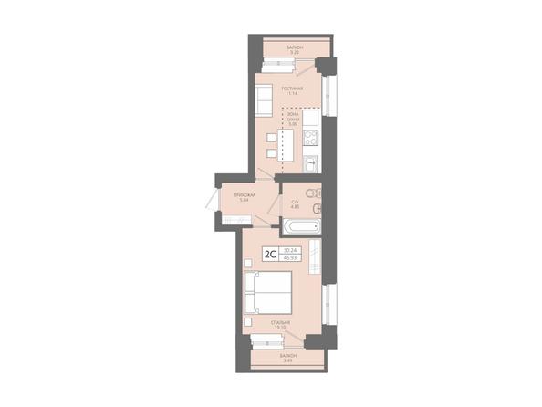 Планировки Жилой комплекс Да Винчи, дом 7 - 2-комнатная студия 45,91 кв.м
