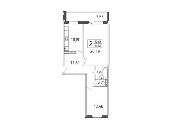 2-комнатная 63.51 кв.м