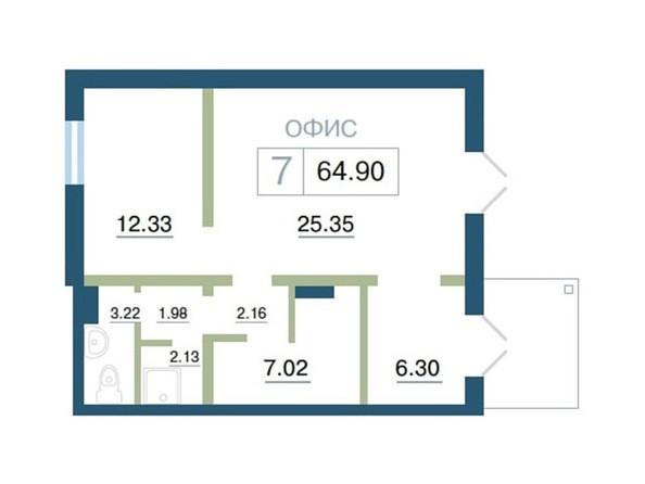 Планировка  64,9 м²