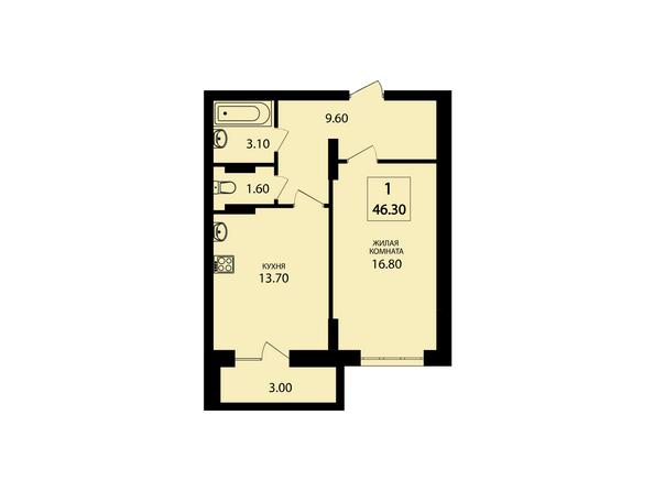 Планировки Жилой комплекс VIVANOVA (Виванова) - Планировка однокомнатной квартиры 46,3 кв.м