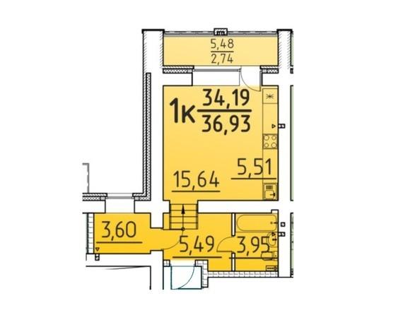 Планировка 1-комн 36,93 м²