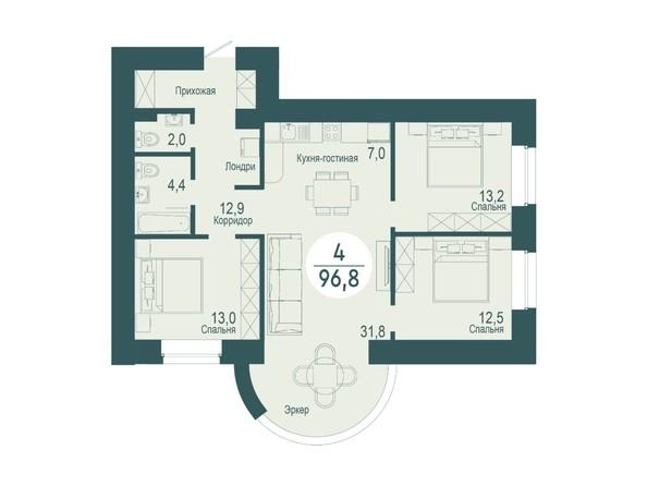 4-комнатная 96,8 кв.м
