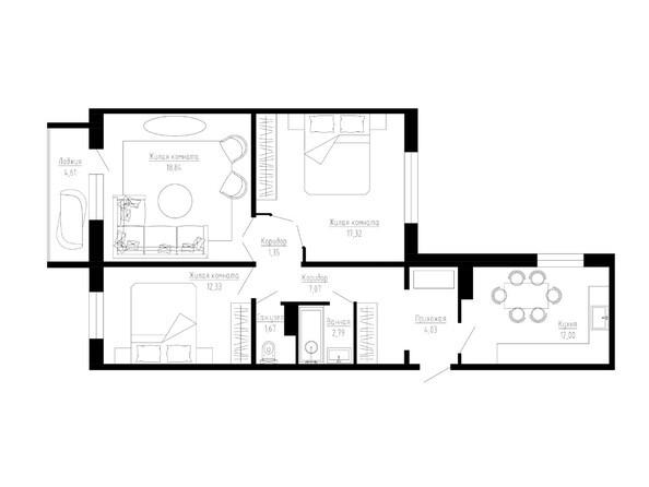 Планировки Жилой комплекс ТАРСКАЯ КРЕПОСТЬ-2, оч 1 - 3-комнатная 79 кв.м