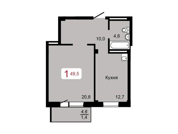 1-комнатная 49,5 кв.м