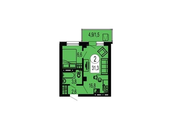 Планировка двухкомнатной квартиры 31,3 кв.м