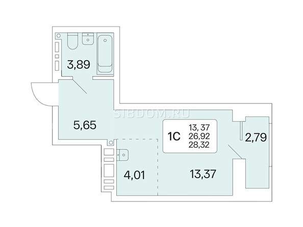 Планировка 1-комн 28,32 м²