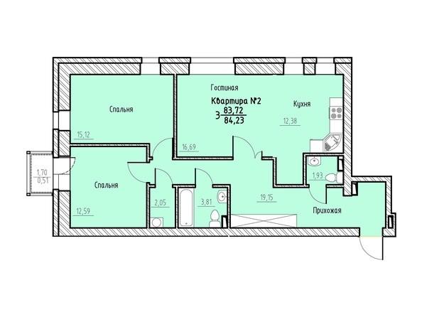 Планировка 3-комн 84,23 м²