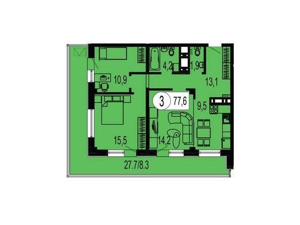 Планировка трехкомнатной квартиры 77,6 кв.м