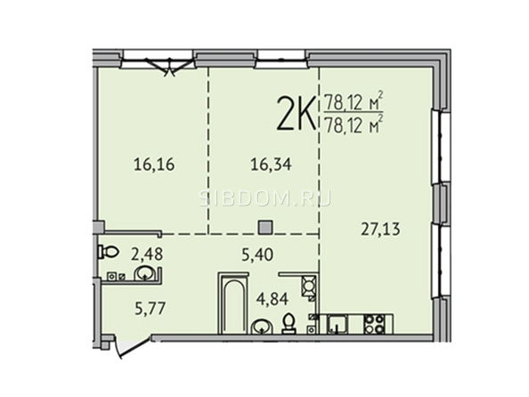 Планировка 2-комн 78,12 м²