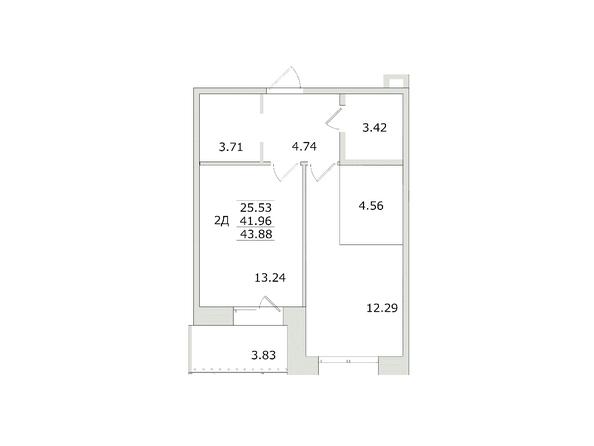 2-комнатная 43,89 кв.м