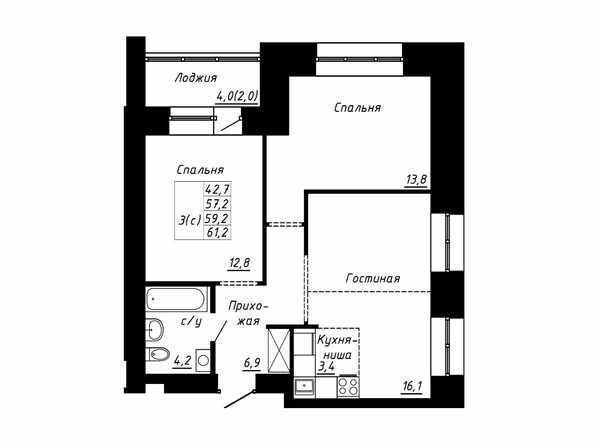 Планировка 3-комн 59,2, 61,2 м²