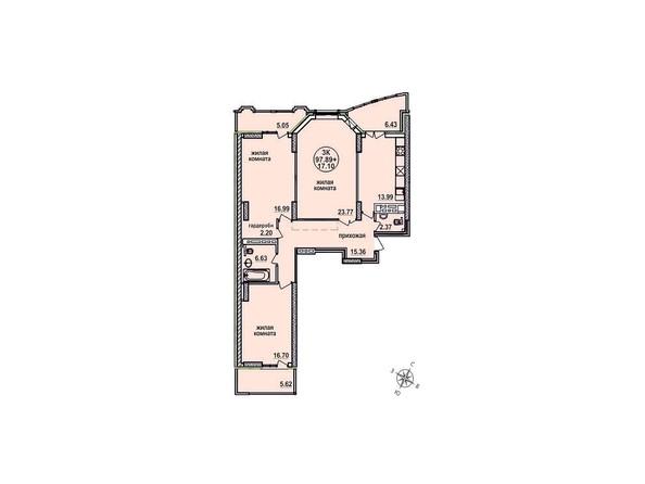 Планировки Жилой комплекс ЗАЕЛЬЦОВСКИЙ, 2 этап - Планировка трехкомнатной квартиры 97,89 кв.м